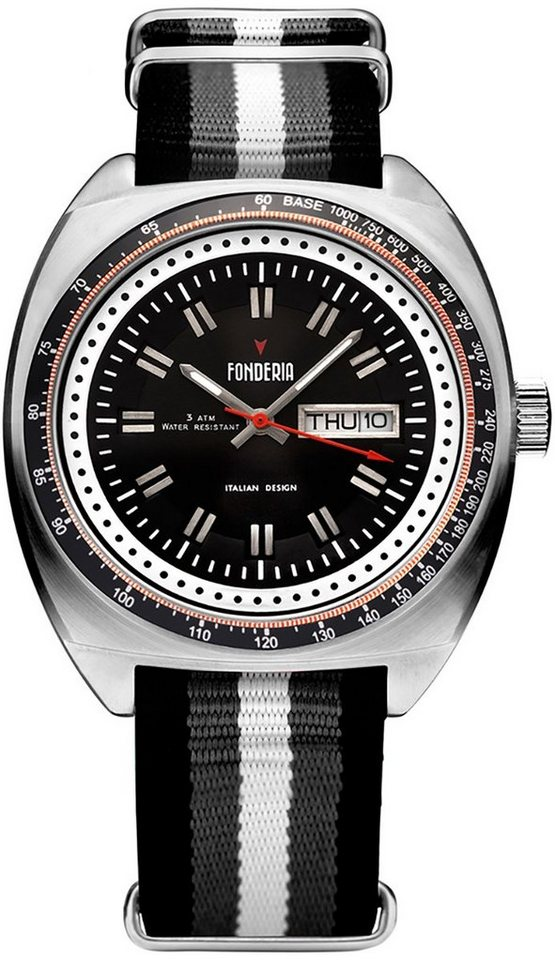 fonderia -  Quarzuhr »UAP8A004UN1  Herren Uhr P-8A004UN1 Textil«, (Analoguhr), Herren Armbanduhr oval, schwarz, grau, weiß, schwarz