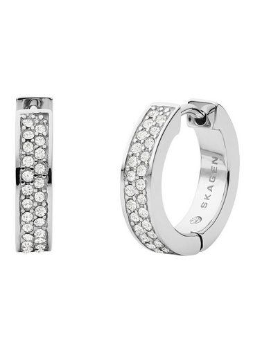 Skagen Paar Creolen »MERETE, SKJ1304040«, mit Kristallsteinen