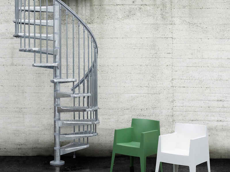 Fontanot Außentreppe »Steel Zink«, für Geschosshöhen bis 305 cm, Stufen offen, Ø: 140 cm