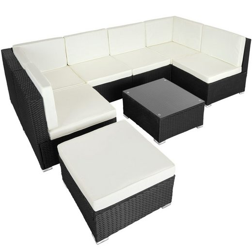 tectake Loungeset »Rattan Lounge Venedig«, (8-tlg., Polsterauflagen)