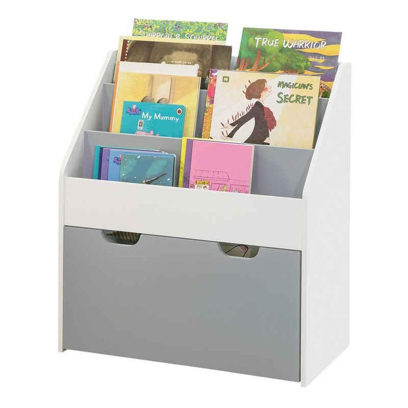 SoBuy Bücherregal »KMB17«, Kinderregal mit 3 Ablagefächern und einer herausnehmbaren Spielzeugtruh