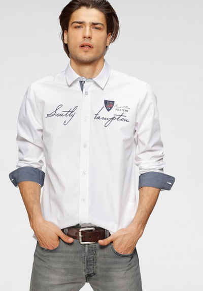 TOM TAILOR Polo Team Langarmhemd mit Logoschriftzug