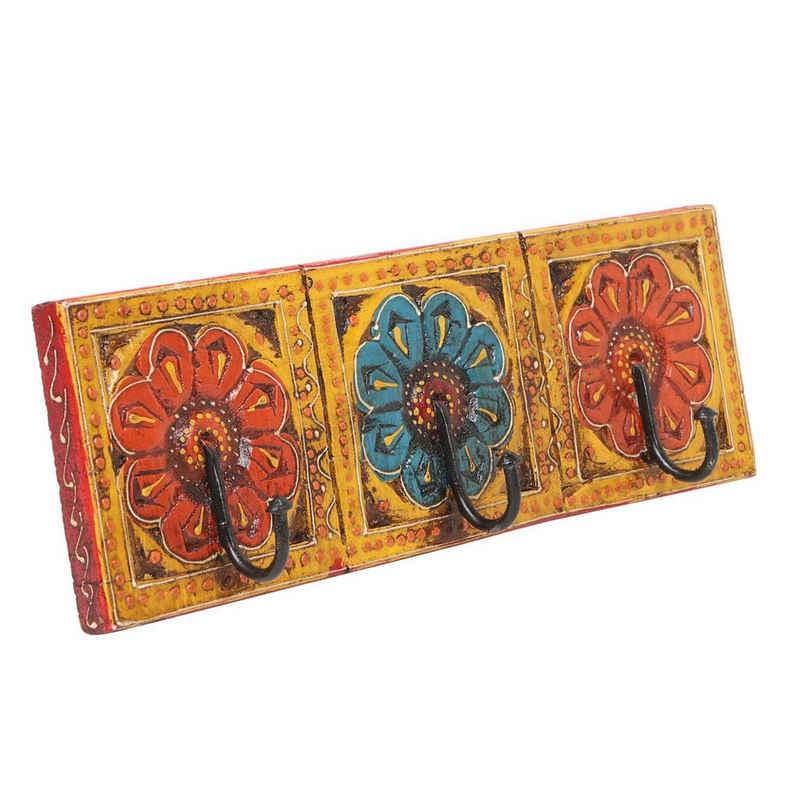 Casa Moro Garderobenleiste »Orientalische Kleiderhaken Amita C handbemalte Hakenleiste mit 3 Haken 34x11x6 cm (BxHxT) mit schönen bunten Blumenmustern aus massiv Holz handgeschnitzt, MA12-03-C«