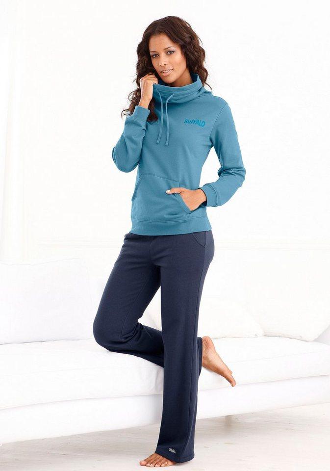 Buffalo Sweatshirt »Wellness Day« mit Schalkragen in blau