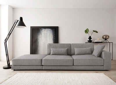OTTO products Ottomane »Grenette«, Modulsofa, im Baumwoll-/Leinenmix oder umweltschoned aus 70% recyceltem Polyester, Federkern