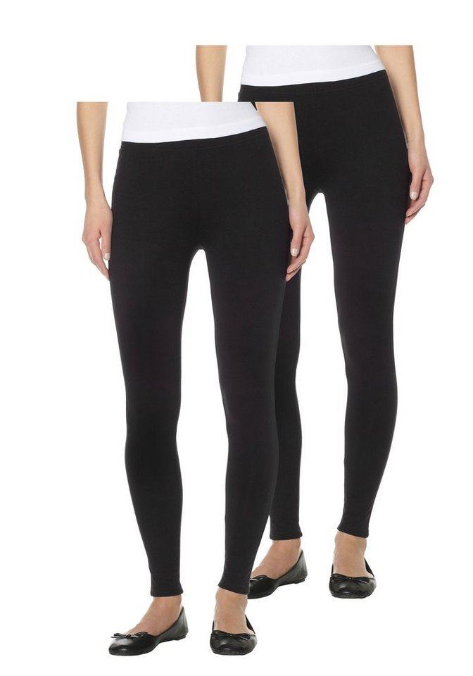 Boysen's Leggings mit Baumwolle (Packung, 2er-Pack) in schwarz+schwarz