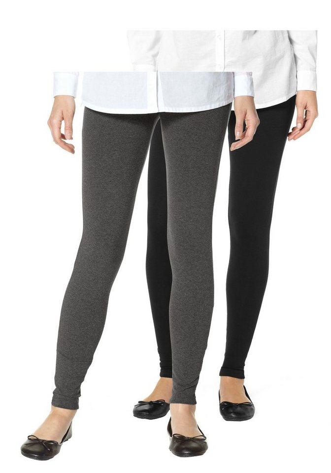 Boysen's Leggings mit Baumwolle (Packung, 2er-Pack) in grau-meliert+schwarz