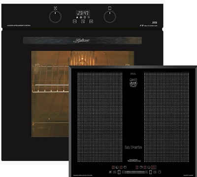 Kaiser Küchengeräte Induktions Herd-Set EH 6361 S+KCT 67 La Perle, Einbau-Backofen 60cm in Schwarz/Elektro Backofen/Teleskopauszug,/ 8 Funktionen,/Heißluft,Drehspieß,/Knebel PUSH mit Licht+Kaiser Flex Induktionskochfeld 60 cm mit Funktionsdisplay, Einbau Herd, Autark, Power Booster