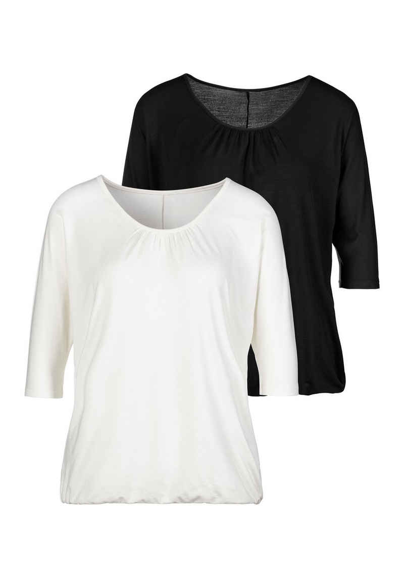 LASCANA 3/4-Arm-Shirt mit zarter Raffung am Ausschnitt