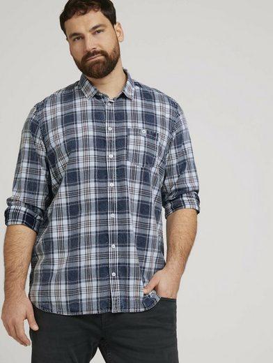 TOM TAILOR Men Plus Langarmhemd »Kariertes Hemd mit Brusttasche«