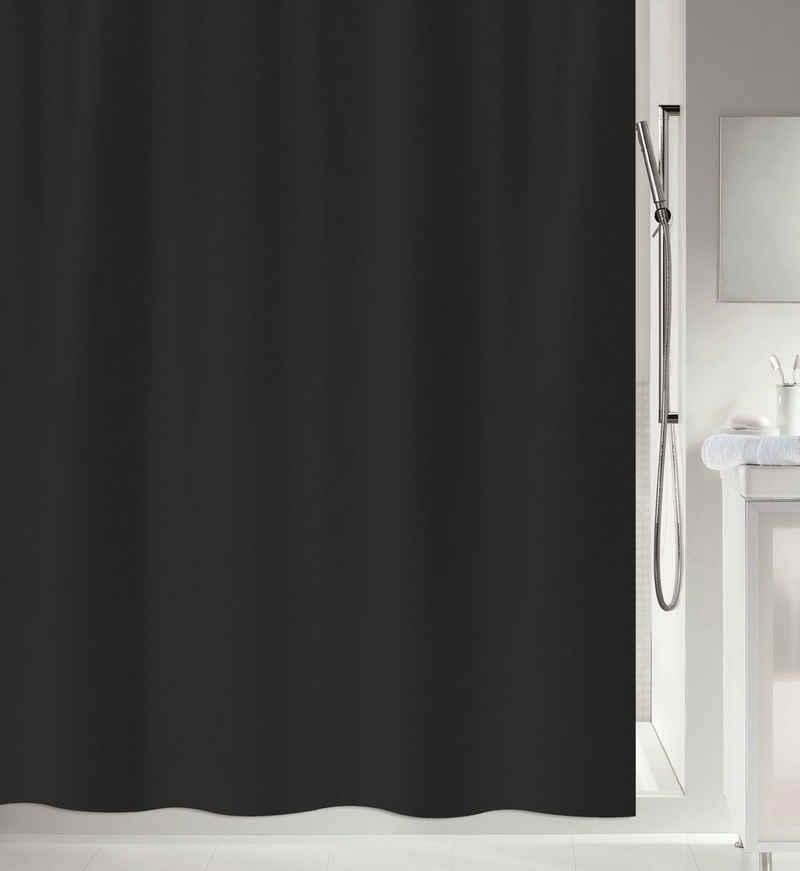 spirella Duschvorhang »PRIMO« Breite 120 cm, Anti-Schimmel Textil-Duschvorhang, Polyester, 120x200 cm, waschbar, schwarz