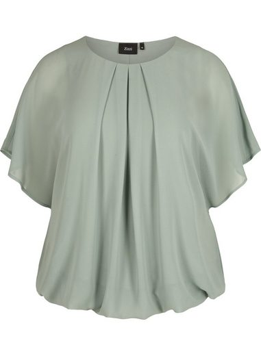 Zizzi Kurzarmbluse Große Größen Damen Chiffon Bluse mit Fledermausärmeln und Rundhalsausschnitt