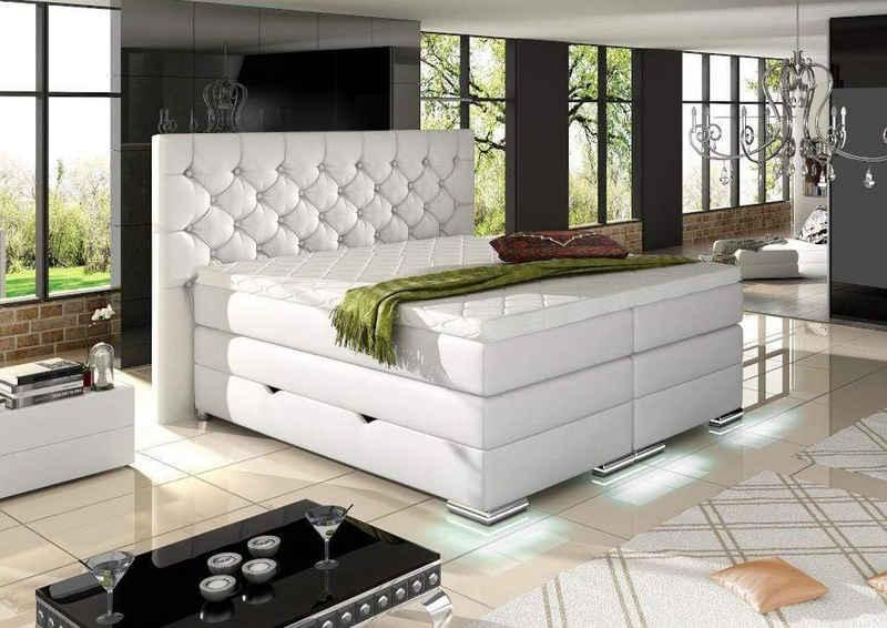 WohnenRoyal Boxspringbett »Mailand Chester Boxspringbett mit Bettkasten Weiß Kunstleder 100 x 200 cm«