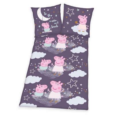 Kinderbettwäsche »Peppa Pig - Bettwäsche-Set in Feinbiber von Herding, 135x200 & 80x80 cm«, Peppa Pig, 65% Baumwolle / 35% Polyester