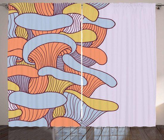 Gardine »Schlafzimmer Kräuselband Vorhang mit Schlaufen und Haken«, Abakuhaus, Bunt Abstrakt Doodle Saison