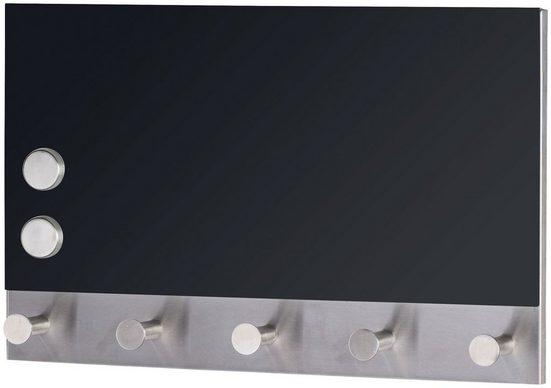 WENKO Magnetische-Garderoben-Set »Black, 5 Haken, 30 x 19 cm«