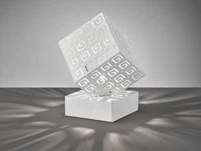 FHL easy! LED Nachttischlampe, kleine Bauhaus Lampe Weiß Lampenschirm Würfel – ausgefallene Design Tischbeleuchtung für die Fensterbank