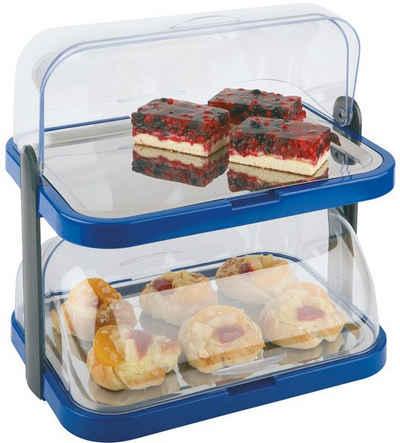 APS Buffet-Vitrine »Doppeldecker«, Kunststoff, Edelstahl, 2-stufig, inkl. 4 Kühlakkus
