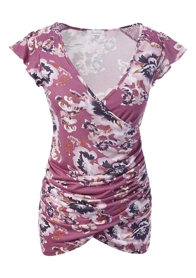 Aniston 2-in-1-Shirt in mauve-bedruckt