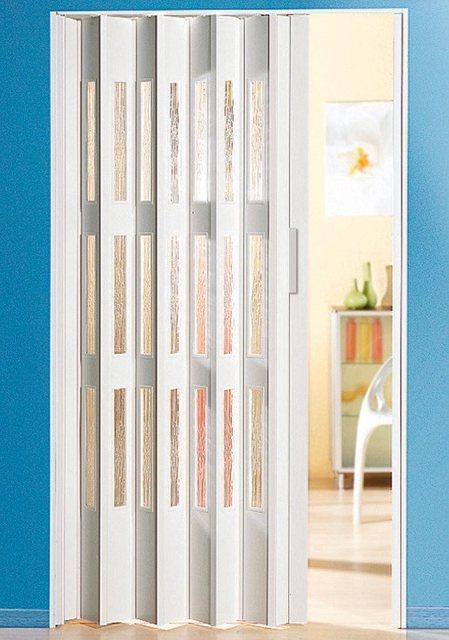 Kunststoff-Falttür mit Fenster Riffelstruktur, Höhe nach Maß, weiß