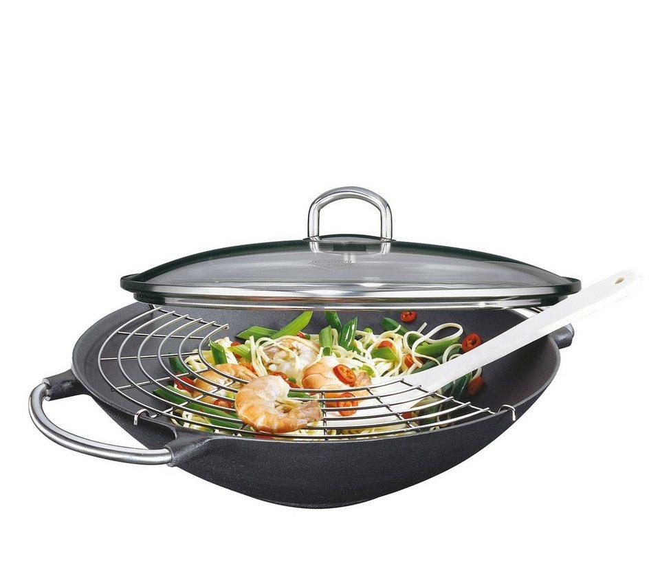 Küchenprofi Wok-Set mit Design-Griffen und Zubehör »Premium« in Schwarz