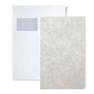 Edem Prägetapete »S-9009-20«, glänzend, abstrakt, unifarben, (1 Musterblatt, ca. A5-A4), weiß