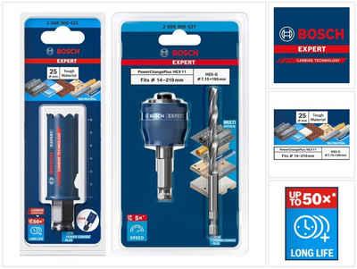 Bosch Professional Lochsäge »Bosch EXPERT Tough Material Lochsägen Starter Set 25 x 60 mm Carbide (2608900421) Universal + Power Change Adapter (2608900527)«