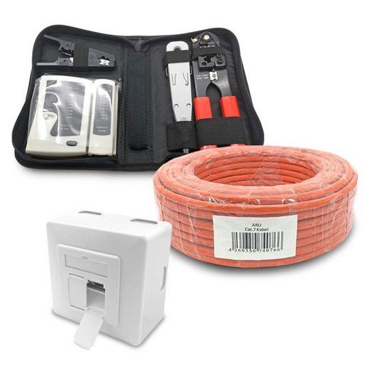 ARLI Installationskabel, RJ45, RJ45 (5000 cm), Cat7 Verlegekabel 50 m + Netzwerkdose + Werkzeug Set inkl. Crimpzange LSA Tester Messer