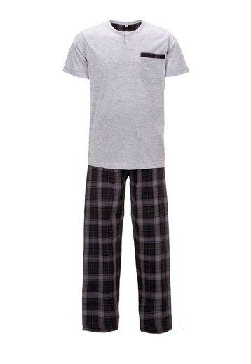 zeitlos Schlafanzug »zeitlos Pyjama Herren Kurzarm Karo Lange Hose«