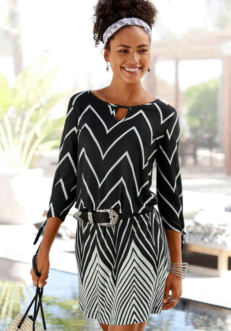 LASCANA Jerseykleid im Schwarz-Weiß-Design
