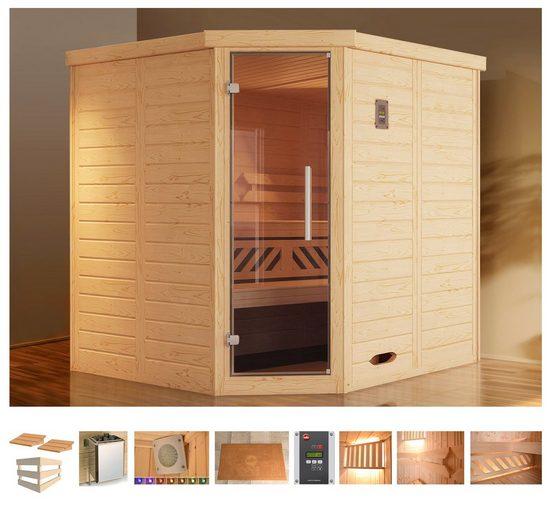weka Sauna »Brevik 1«, BxTxH: 195 x 195 x 199 cm, 45 mm, 7,5 kW Ofen mit ext. Steuerung