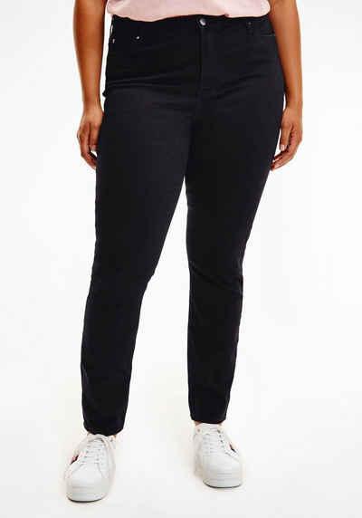 Tommy Hilfiger Curve Skinny-fit-Jeans »CRV HARLEM U SKINNY HW BLACK« mit Tommy Hilfiger Logo-Flag