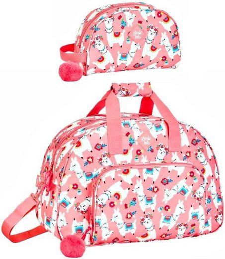 safta Sporttasche »Lama - XL Sporttasche und Kosmetiktasche, rosa« (Reißverschluss, Mädchen), Geringes-Gewicht