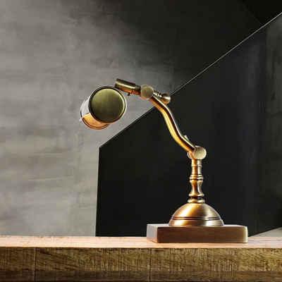 Licht-Erlebnisse Schreibtischlampe »LAMPADE SCRIVANIA«, LED Tischleuchte Messing echt Premium flexibel Lampe