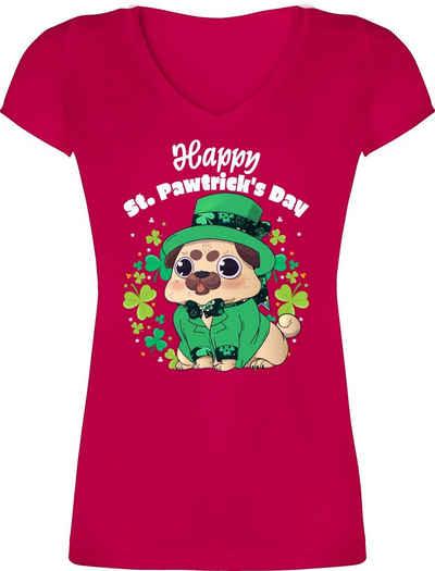Shirtracer T-Shirt »Happy St. Pawtrick's Day - St. Patricks Day - Damen T-Shirt mit V-Ausschnitt«
