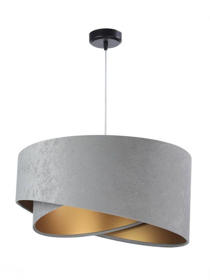Licht Erlebnisse Pendelleuchte DAVE Pendelleuchte Stoff Schirm Grau Gold Velours Optik Wohnzimmer Schlafzimmer Lampe online kaufen