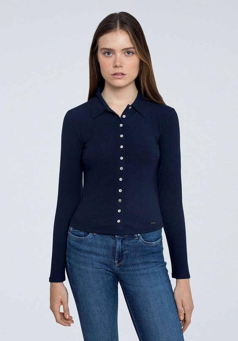 Pepe Jeans Langarmshirt »AGNES« mit Kentkragen und durchgehender Knopfleiste
