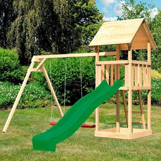 ABUKI Spielturm »Rosie«, BxTxH: 347x264x291 cm, mit Schaukel, Rutsche, Sandkasten