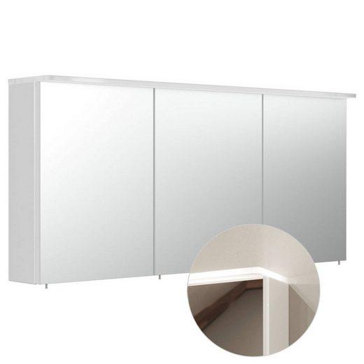 Lomadox Spiegelschrank »NEWLAND-02« Badezimmer 140cm inkl. LED-Acryllampe (Leuchtboden), Hochglanz weiß, B/H/T: 140/63,5/17-22 cm