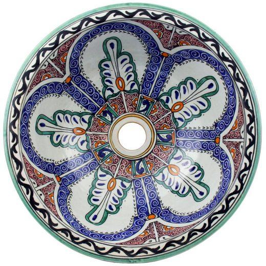 Casa Moro Waschbecken »Mediterranes Keramik-Waschbecken Fes128 rund Ø 35cm bunt H 14cm handbemalt, Marokkanisches Handwaschbecken für Bad Gäste-WC, Einfach schöner Wohnen, WB35128«, Handmade