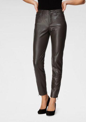 MAC 7/8-Jeans »Slim leather zip« Lederimitat mit typischen Teilungsnähten