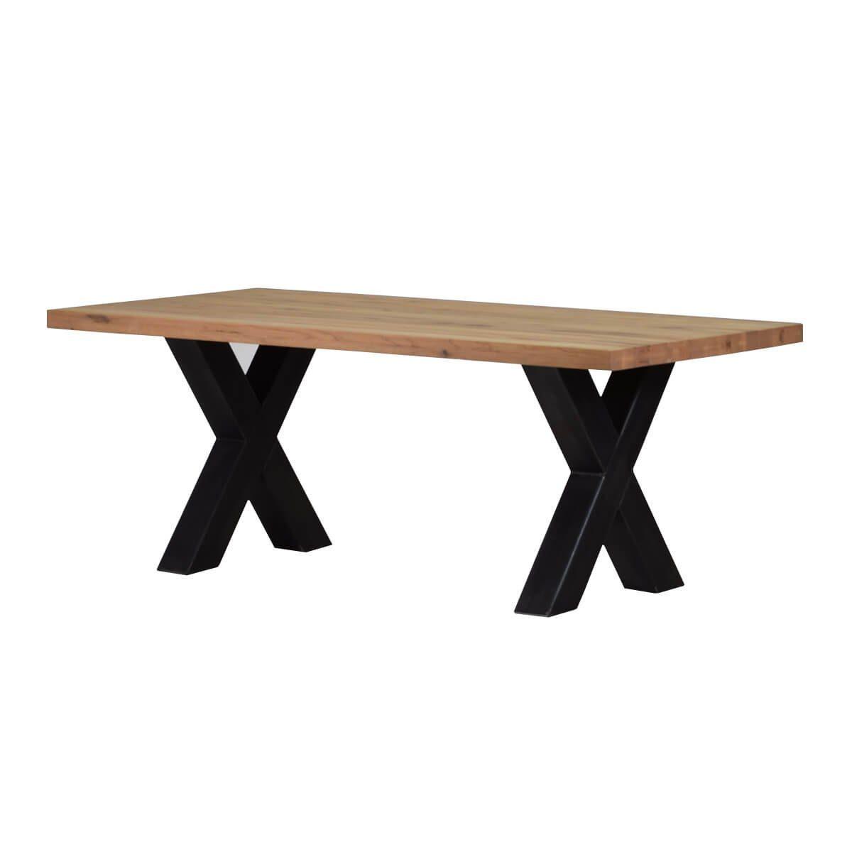 MÖBEL IDEAL Esstisch »Xano«, 200 x 100 cm, Eiche Massivholz, X Gestell in Schwarz online kaufen | OTTO