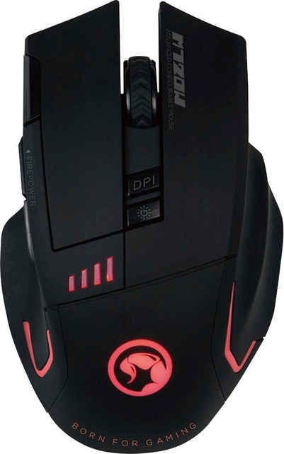 MARVO »M720W« Gaming-Maus (Funk, RGB-LED, 8 Tasten, 12400 dpi)