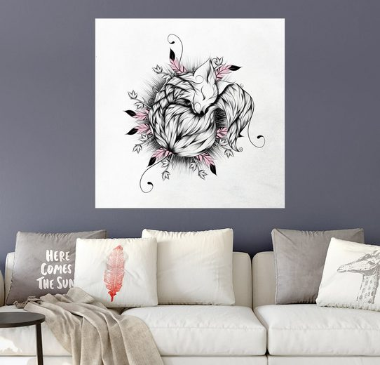 Posterlounge Wandbild, Little Fox Pink Version