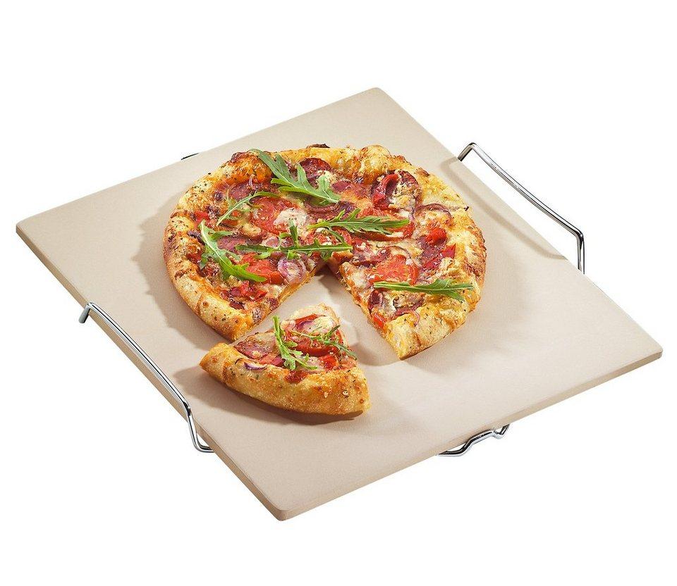 Küchenprofi Pizza-Stein mit Untersatz in Weiß