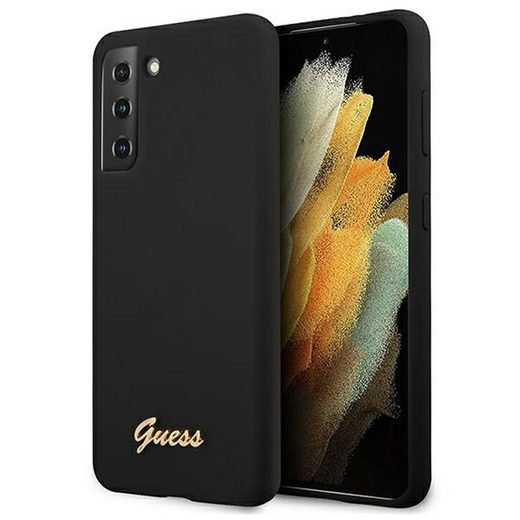 Guess Handyhülle »Guess Silikon Script Samsung Galaxy S21 Plus G996B Schwarz Silicon Case Cover Schutzhülle Etui«
