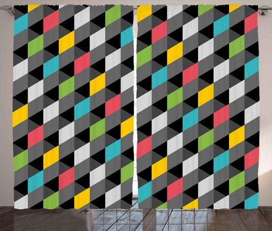Gardine »Schlafzimmer Kräuselband Vorhang mit Schlaufen und Haken«, Abakuhaus, Geometrisch Abstrakte Kunst-Art