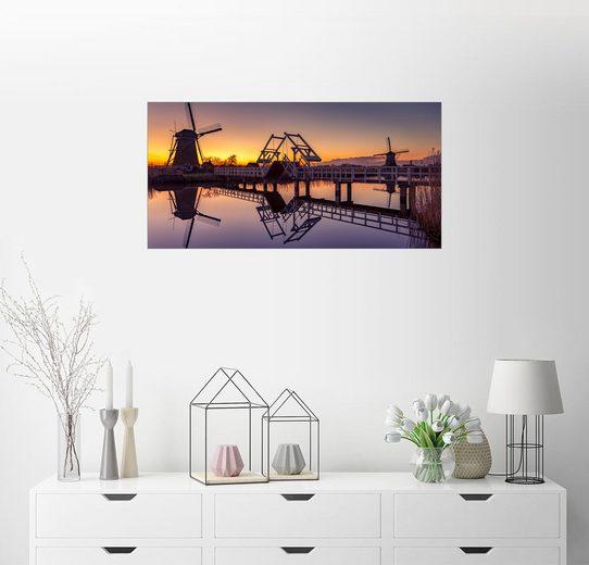 Posterlounge Wandbild, Sonnenuntergang Kinderdijk