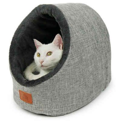 SCHLITZOHR Tierhöhle »Katzenhöhle Oskar«, Katzenhöhle Oskar, waschbare Kuschelhöhle für Katzen und Hunde in grau, Schlafhöhle mit extra Wendekissen