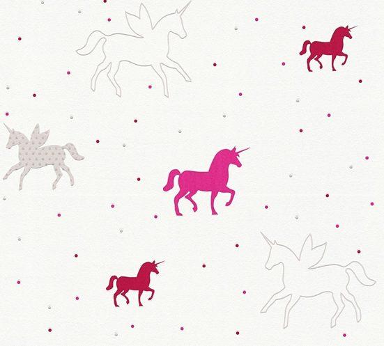 Esprit Vliestapete »Unicorns«, Kinderzimmertapete mit Einhörnern für Mädchen, mit Glitzereffekt